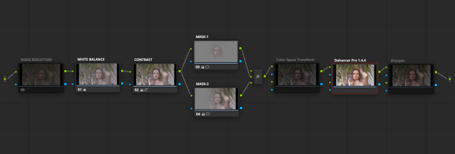 Dehancer in DaVinci Resolve: node sequence