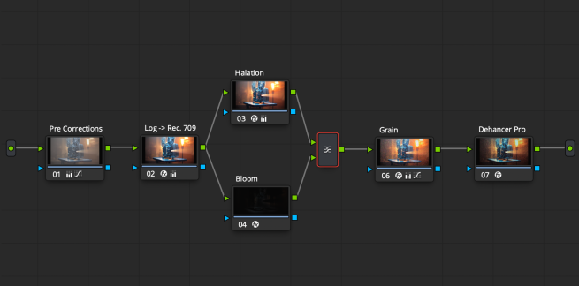 How to use separate Bloom, Halation and Grain plugins in node sequence